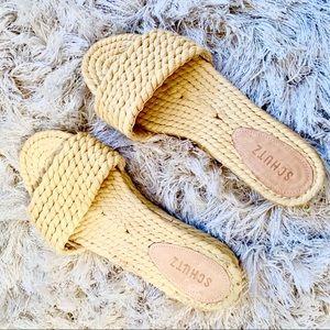 SCHUTZ | Yellow Woven Slide Sandals